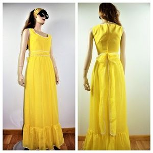 Vng 60s Yellow Polka Dot Chiffon Sun Dress